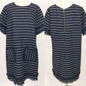 Halogen tweed shift dress blue black fringe xl New